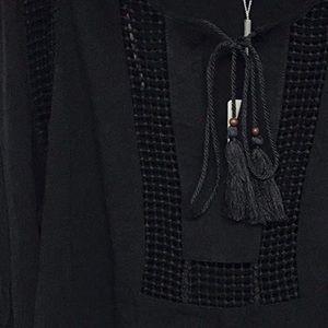 Joseph A. Tops - Black Boho Top w/Crochet Detail